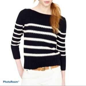 J.Crew striped chunky knit cotton sweater size M